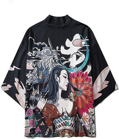 Estilo Japonés Gato Samurai Kimono Streetwear Hombres Mujeres ...