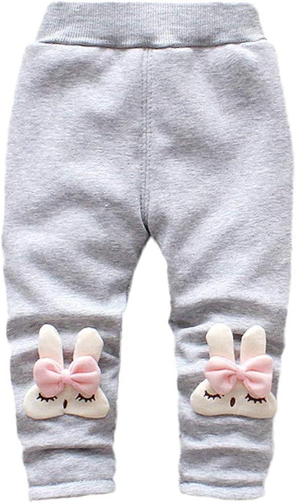 Infant Baby Toddler Girls Padded Pants Cartoon Rabbit Velvet Leggings Trousers Fall Winter Bottoms 1-3 Years Old