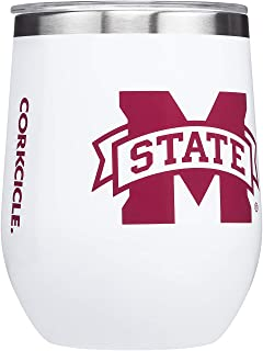 Corkcicle Stemless - 12oz NCAA Triple Insulated Stainless Steel Stemless Wine Glass, Mississippi State Bull Dogs, Big Logo