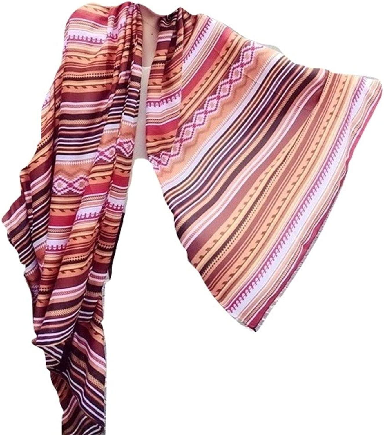 Deep Burgundy Brown Multicolor Striped Tribal Scarf with Fringe Tassels