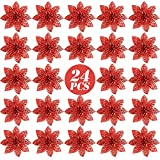 FLOFIA 24 Flores Navidad Artificiales Navideñas Rojas Flor de Pascua Navidad Poinsettia Brillante Artificial con Purpurina Adorno de Árbol de Navidad DIY Guirnalda Corona Decorativa