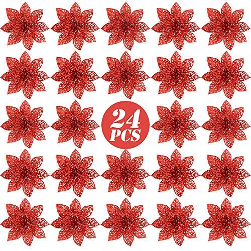FLOFIA 24 Flores Navidad Artificiales Navideñas Rojas Flor de Pascua Navidad Poinsettia Brillante Artificial con...