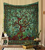 THE ART BOX Tapestry Green Tree of Life Wall Hanging Psychedelic Tapestries Indian Cotton Twin Bedspread Picnic Sheet Wall Decor Blanket Wall Art Hippie Bedroom Décor (Twin, 82x54 Inch)
