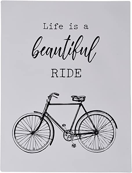 NIKKY HOME Metal Wall Sign With Inspirational Quotes Life Is A Beautiful Ride Bicycle Decor