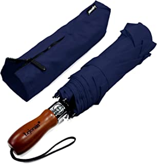 54inch Large Umbrella Auto Open Close with Folding Golf Size and 210T Dupont Teflon Coated Vented Windproof Double Canopy for Men Women (Navy Blue, 54)