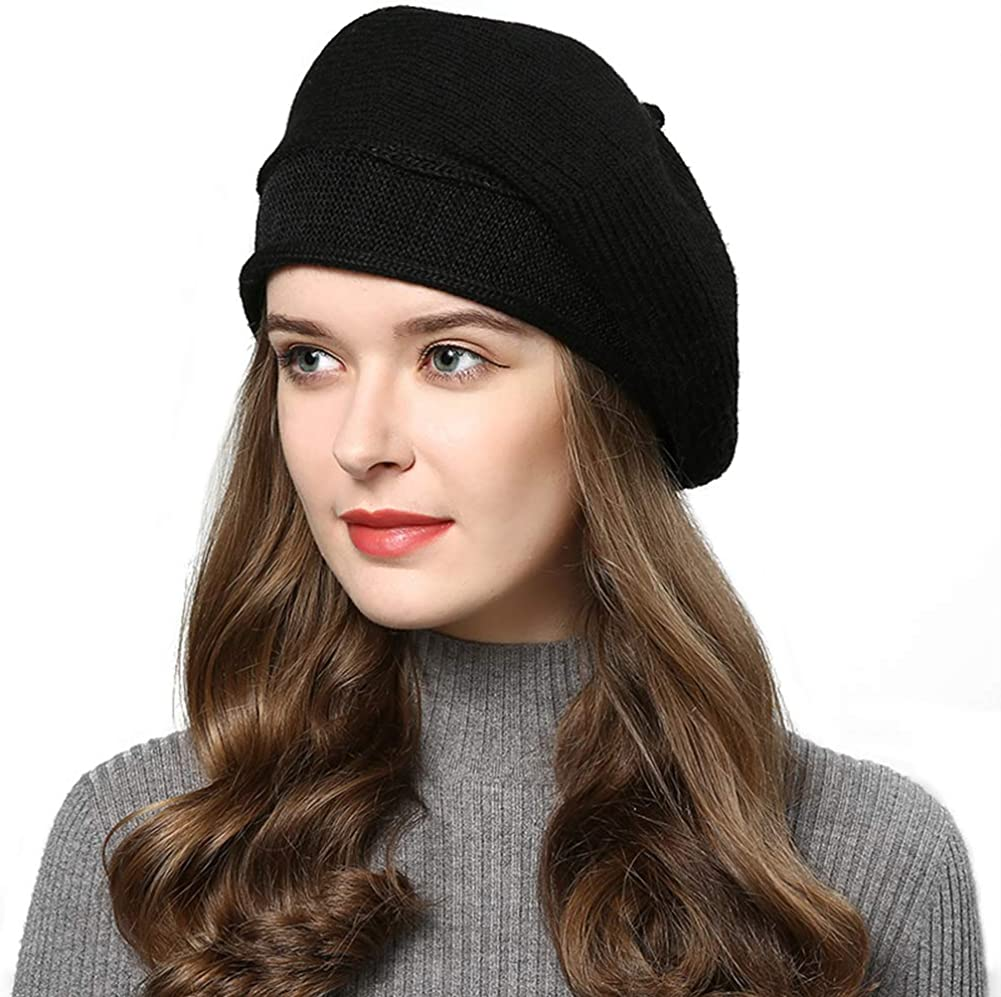 French Style Beret Hat for Women Winter Fall Knit Artist Hats Classic Solid Color Beanie Hat