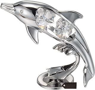 Matashi Chrome Plated Crystal Studded Silver Dolphin Riding Wave Figurine Ornament