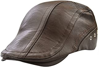 84870fe68da Men s Leather Newsboy Cap Ivy Gatsby Flat Golf Driving Hunting Hat