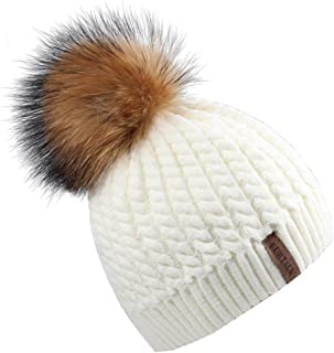 Winter Beanie for Women Warm Knit Bobble Skull Cap Big Fur Pom Pom Hats for Women