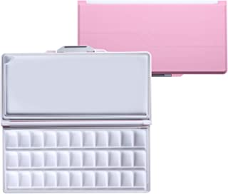 MEEDEN Airtight Leakproof Watercolor Palette Travel Paint Tray with A Large Mixing Areas, 33 Wells Pink Folding Palette for Watercolor, Gouache, Acrylic Paint