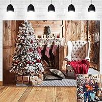 9x6フィート 木製 クリスマスツリー 室内装飾 写真背景 クリスマスイブ 写真ブース用品 写真背景 写真 ビニール 冬 ホリデー パーティー バナー 子供 自撮り ポートレート