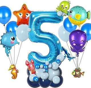 balloon 43pcs Marine Life Theme Party Ocean Sea Animals Foil Balloons Blue Number Balloon Kids Boy Birthday Party Decorati...