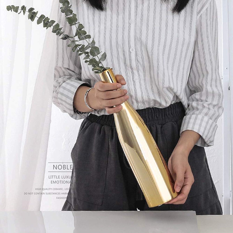 気怠いブリリアント慣れている植木鉢 北欧スタイルの陶磁器工場花瓶クリエイティブゴールドの花ホルダーオフィスデコレーション 鉢カバー ボタニカルインテリア (色 : 2, Size : One size)