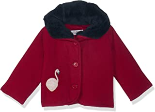 Giggles Front Buttons Embroidered Flamingo Shape Fur Contrast Neck Ribbed Jacket for Girls