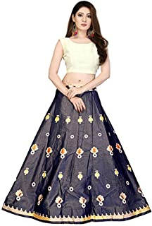 Indian Dresses Store Shivay Enterprise Women's Silk Semi-Stitched Digital Print Lehenga Choli (Multicolour, Free Size)