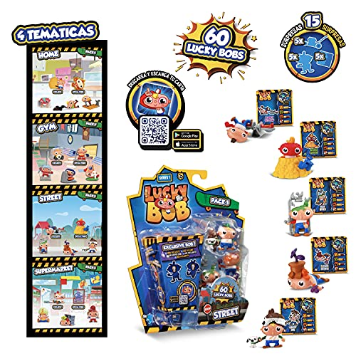 LUCKY BOB Pack 5 5 figuras coleccionable divertidas de Lucky Bob con 5 accesorios, Temática sorpresa Home, Gym, Street, Supermarket, juguete niños 3-10 años