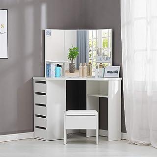 OFCASA Mesa de tocador con Espejo y Taburete Color Blanco 3 Mirror