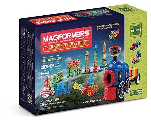 Magformers Super STEAM 297 Pieces Rainbow Colors, Educational Magnetic Geometric Shapes Tiles Building STEM Toy Set Ages 3+