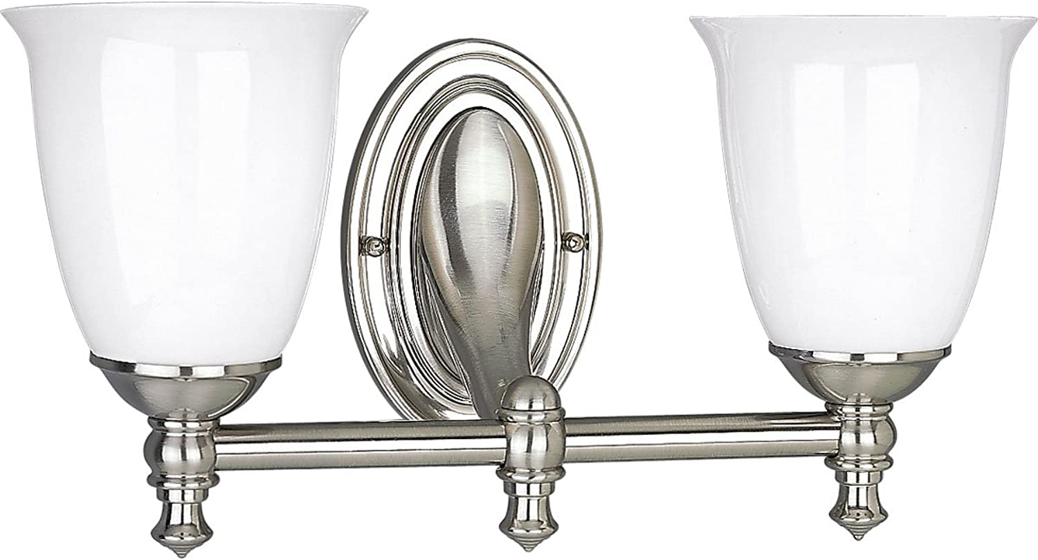 Progress Lighting P3028-09 2-Light Bath Bracket with White Opal Glass, Brushed Nickel