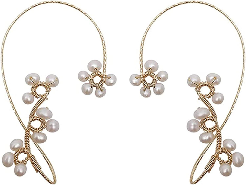 KONGLYLE 1 Pair Ear Wraps, Vintage Earrings, Cuff Ear Bone Clip, Elegant Crystal Pearl Design Earrings for Women and Girls without Ear Hole