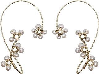 XINSTAR 1 paire de boucles d'oreilles vintage élégantes en perles de cristal pour femmes et filles, boucles d'oreilles exq...