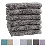 100% Cotton Hand Towel Set (16 x 28 inches) Highly Absorbent, Textured Popcorn Weave Hand Towels. Acacia Collection (Set of 6, Dark Grey)