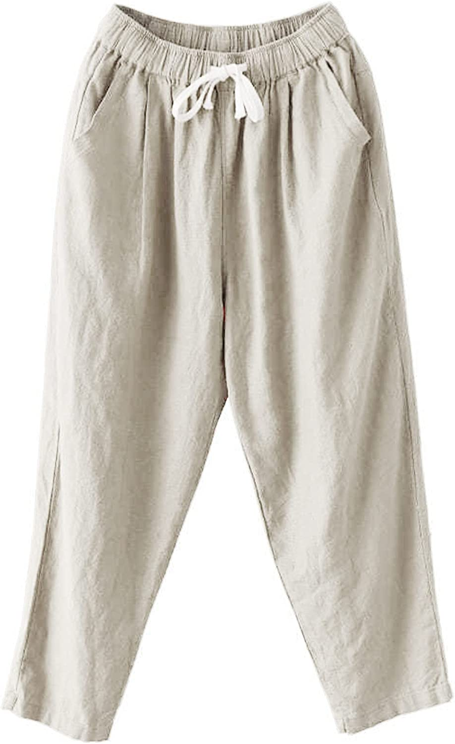 Meengg Womens Casual Cotton Linen free lowest price shipping Harem Waist Cropped Pants High