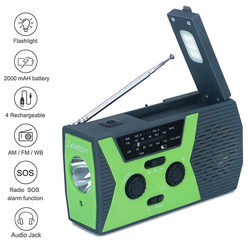 磨かれた管理者アイザックSolar Hand Crank Emergency Weather Radio,NOAA/AM/FM Portable Radio with LED Flashlight, Reading Lamp, Earphone Jack,2000mAh Power Bank Cellphone Charger and SOS Alarm 141[並行輸入]