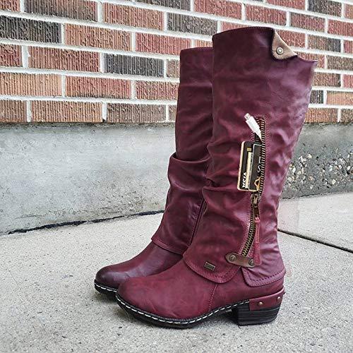 LYYJF Las mujeres Botas Otoño Invierno Largo Medio Cremallera Sólido Botas Dedo Redondo Tacón Bajo Botas de Nieve Caliente Mujeres Botas de Trabajo Zapatos Femenino,Rojo Vino 39