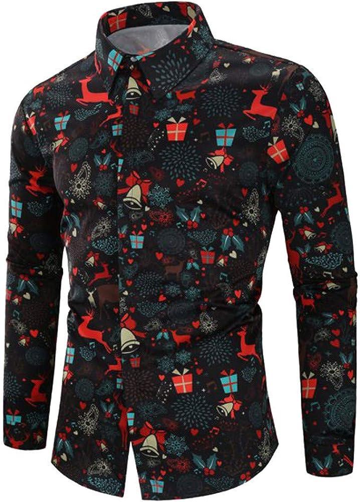 F_Gotal Men's Santa Claus Party Tropical Ugly Hawaiian Christmas Shirts Tops Blouse Pullover Jumper Sweatshirts