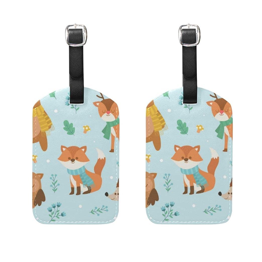 偽造一エンドテーブルバッグ用ネームタグ ネームタグ 冬 森林 動物たち 荷物タグ ラゲージタグ かわいい おしゃれ 旅行用 スーツケースタグ PUレザー 2枚入 個性