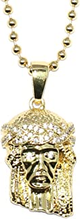 18K Gold Plated Micro Jesus Piece Iced Out Eyes + Crown with ball chain necklace - 30