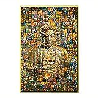 千仏の仏、ラッキータンカ仏の壁画、アルミ装飾的な絵画、チベットスタイルのポーチ絵画家の装飾 (Color : Black picture frame, Size : 100x 150cm)