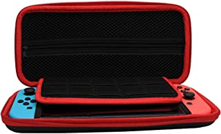 Carrying Case for Nintendo Switch - Portable Protective Travel Hard Shell Anti Shock Storage Bag with 10 Game Card Slots and Inner Pocket for Console Joy-Con and Other Tiny Accessories (Black+Red)