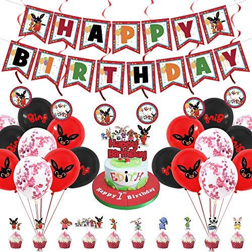 Bing Bunny Partyzubehör, Bing Bunny Geburtstagsparty-Dekoration, Hasen-Banner, Luftballons, Spiralornamente und Tortenaufsätze.