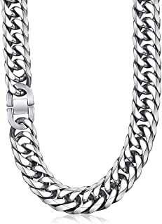 Hermah 18mm Wide Heavy Cut Double Curb Cuban Link Necklace for Men Rombo Chain 316L Stainless Steel Necklace
