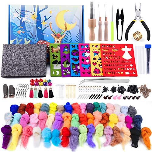 310Pcs Complete Felting Kits for Beginners, Wool Felting Kit with Felt Wool 50 Colors, Felt Molds, High-Density Foam Pad, Storage Box for DIY Craft Animal Home