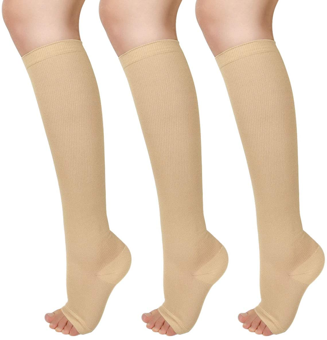 3 Charlotte Mall Pairs Open Toe Compression Socks Women Quality inspection Knee Toeless High 15-25
