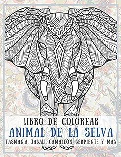 Animal de la selva - Libro de colorear - Tasmania, jabalí, camaleón, serpiente y más