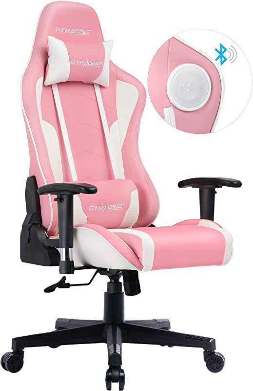 GTRACING Gaming Chair With Speakers Pink Cherry Blossom Limited Edition Girl Power Bluetooth Music Video Game Chair Audio Heavy Duty Computer Desk Chair GT890M Sakura Pink