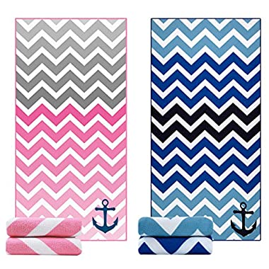 Ricdecor Beach Towel Large Beach Blanket Towel Pack of 2 Ultra Soft Super Water Absorbent Multi-Purpose Beach Throw Oversized 31.5  x 63