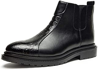 2019 Mens New Lace-up Flats Mens Ankle Boots for Men Casual Shoes Pull On PU Leather Round Toe Side Zipper Embossed Split Joint Burnished Style Stitch Wear Resistant (Color : Black, Size : 8 UK)