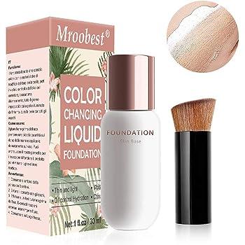 Color Changing Foundation, Flüssige Grundierung, Liquid Foundation, Langlebige flüssige Grundierung, Make-up-Basis, Makellose Farbwechselgrundierung, Make up Concealer für Gesicht und Hals