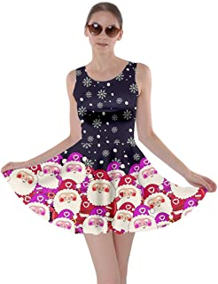 Womens Christmas Dress Xmas Trees Santa Deer Rainbow Pencils Pattern Party Skater Dress, XS-5XL