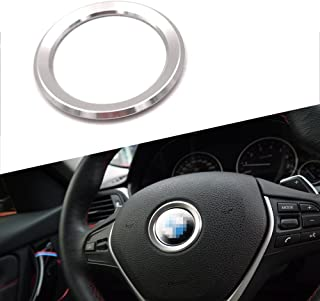 Thor-Inst Steering Wheel Center Decor Logo Ring Trim For BMW New 3 Series 320 GT5 Series X1 X3 X4 X5 X6 E46 E30 E34 E36 E39 E53 E60 E90-Multimedia audio button start car sticker (Silver)