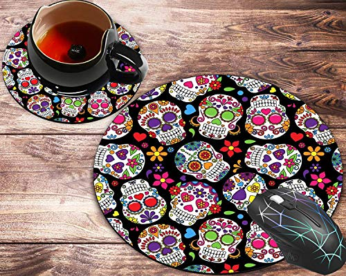 Round Mouse Pad and Coasters Set, Day of The Dead Colorful Vintage Sugar Skull Mousepad, Non-Slip Rubber Round Mouse Pad, Customized Mouse Mat for Working and Gaming