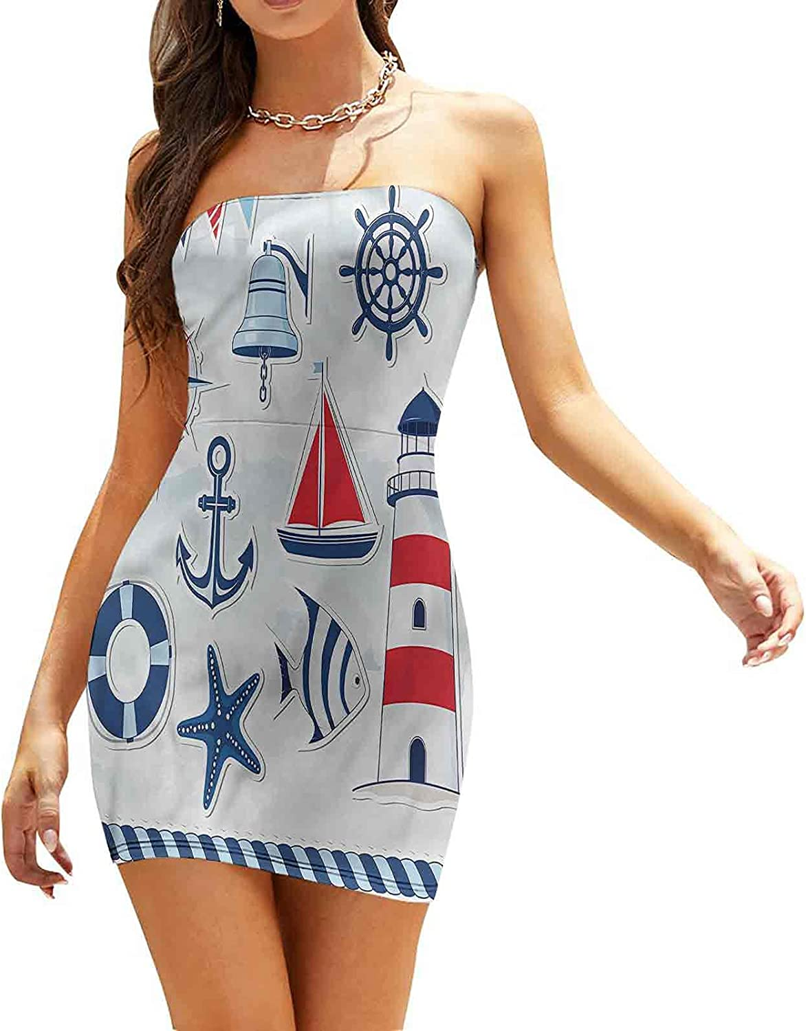 Women's Strapless Bodycon Club Dress Striped Sea Waves and Boat Dresses