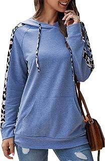 Womens Casual Leopard Print Patchwork Pullover Drawstring Hoodie Sweatshirts