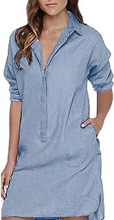 Auxo Women's Lapel Button Down Long Sleeve Pocket Shift Mini Dress Tops