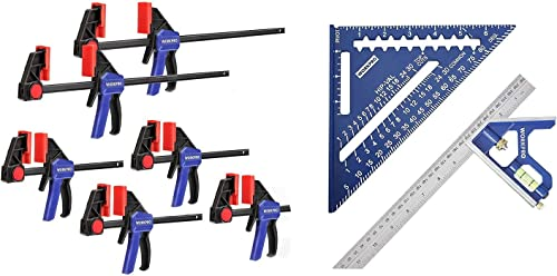 new arrival WORKPRO lowest Rafter Square and Combination wholesale Square Tool Set, 6-Pack One-Handed Clamp/Spreader, Bar Clamps for Woodworking outlet online sale
